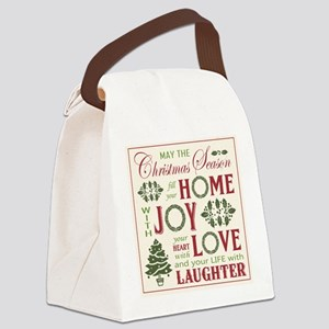 Vintage Christmas word collage Canvas Lunch Bag