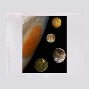 Jupiter With 4 Moons Throw Blanket