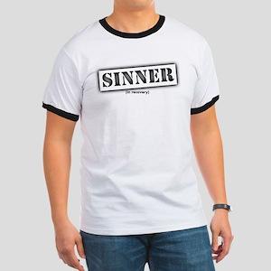 Sinner black stencil Ringer T