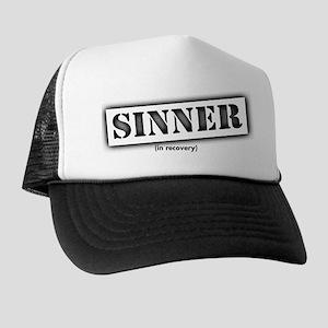 Sinner black stencil Trucker Hat