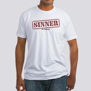 Sinner Stencil Red Fitted T-Shirt