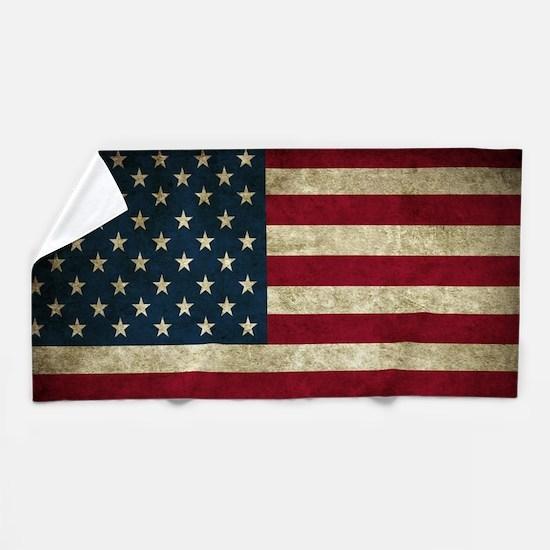 USA Flag - Grunge Beach Towel