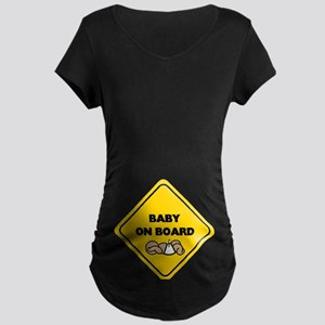 Brown Baby On Board Maternity Dark T-Shirt