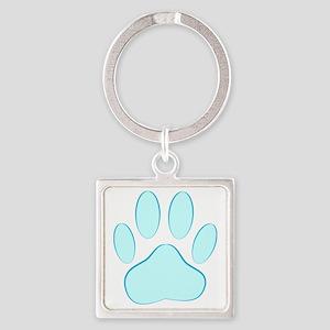 Blue Dog Pawprint Square Keychain