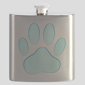 Blue Dog Pawprint Flask