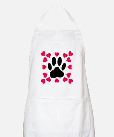 Black Dog Paw Print With Hearts Shapes Apron
