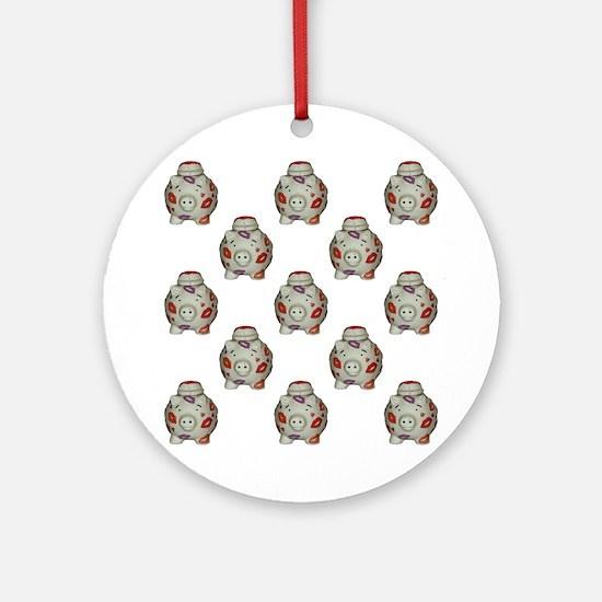 Adorable Lipstick Pig Pattern Round Ornament