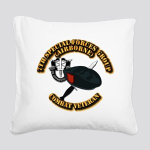 7th Special Forces - Combat V Square Canvas Pillow