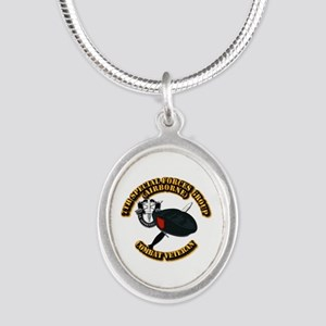 7th Special Forces - Combat V Silver Oval Necklace