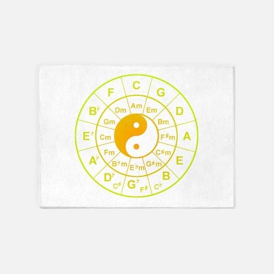 yin yang circle of 5th 5'x7'Area Rug