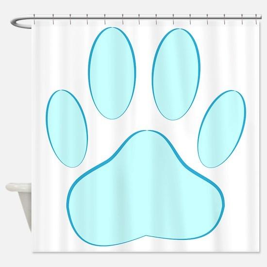 Blue Dog Pawprint Shower Curtain
