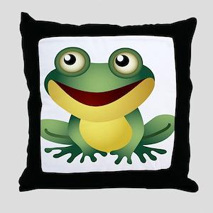 Green Cartoon Frog-4 Throw Pillow