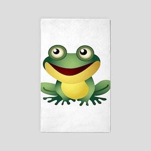 Green Cartoon Frog-4 3'x5' Area Rug