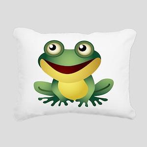 Green Cartoon Frog-4 Rectangular Canvas Pillow