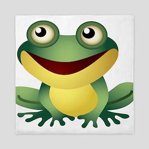 Green Cartoon Frog-4 Queen Duvet