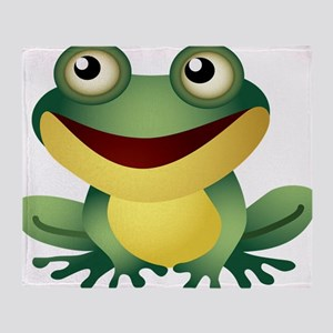 Green Cartoon Frog-4 Throw Blanket
