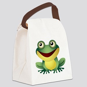 Green Cartoon Frog-4 Canvas Lunch Bag