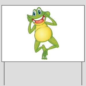 Frog with Big Smile Yard Sign