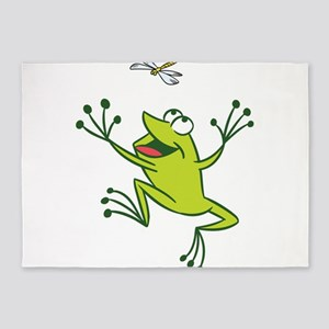 Frog with Dragonfly 5'x7'Area Rug