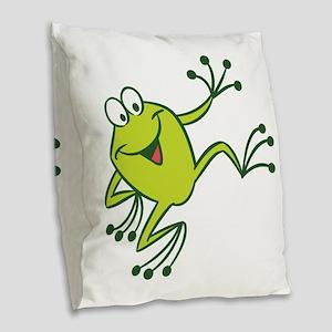 Dancing Frog Burlap Throw Pillow