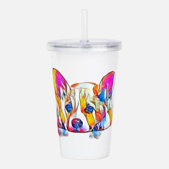 Colorful Corgi Puppy Acrylic Double-wall Tumbler
