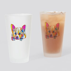 Colorful Corgi Puppy Drinking Glass