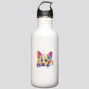 Colorful Corgi Puppy Water Bottle
