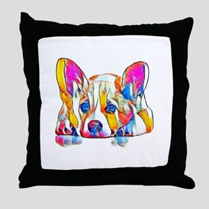 Colorful Corgi Puppy Throw Pillow