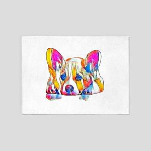 Colorful Corgi Puppy 5'x7'Area Rug