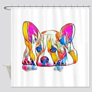 Colorful Corgi Puppy Shower Curtain