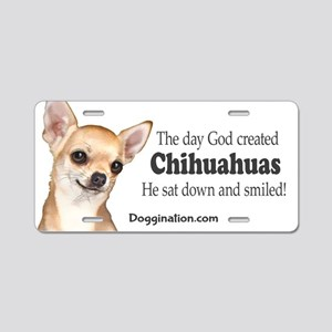 God smiled chihuahuas Aluminum License Plate