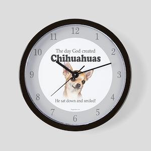 God smiled chihuahuas Wall Clock