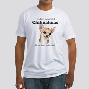 God smiled chihuahuas Fitted T-Shirt