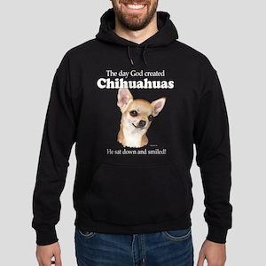 God smiled chihuahuas Hoodie (dark)