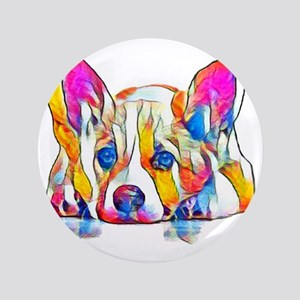 "Colorful Corgi Puppy 3.5"" Button"