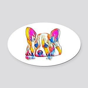 Colorful Corgi Puppy Oval Car Magnet
