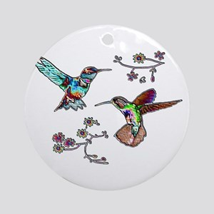JEWELED HUMMINGBIRDS AND FLOW Ornament (Round)