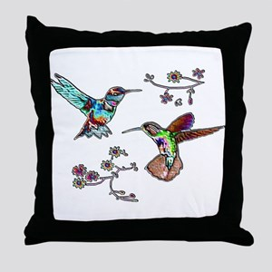 JEWELED HUMMINGBIRDS AND FLOW Throw Pillow