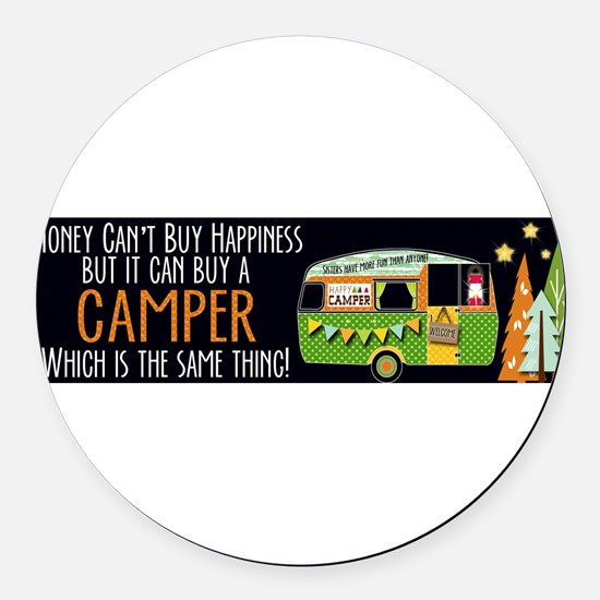Cute Camping Round Car Magnet