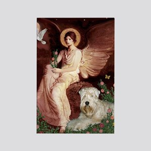 Seated Angel & Wheaten Rectangle Magnet
