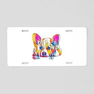 Colorful Corgi Puppy Aluminum License Plate