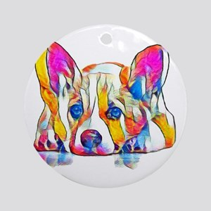 Colorful Corgi Puppy Round Ornament