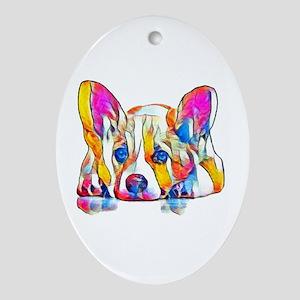 Colorful Corgi Puppy Oval Ornament