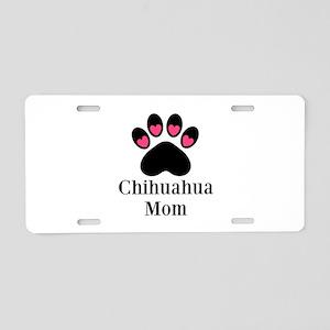 Chihuahua Mom Paw Print Aluminum License Plate