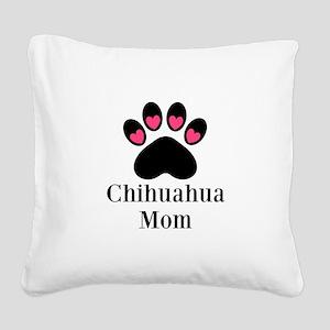 Chihuahua Mom Paw Print Square Canvas Pillow