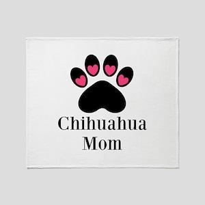 Chihuahua Mom Paw Print Throw Blanket