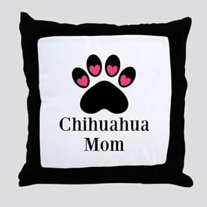 Chihuahua Mom Paw Print Throw Pillow