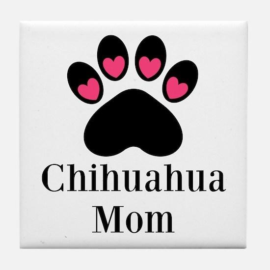 Chihuahua Mom Paw Print Tile Coaster