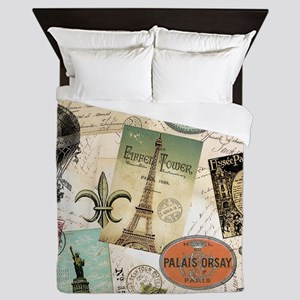Vintage Travel collage Queen Duvet