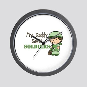Daddy Saves Soldiers Wall Clock